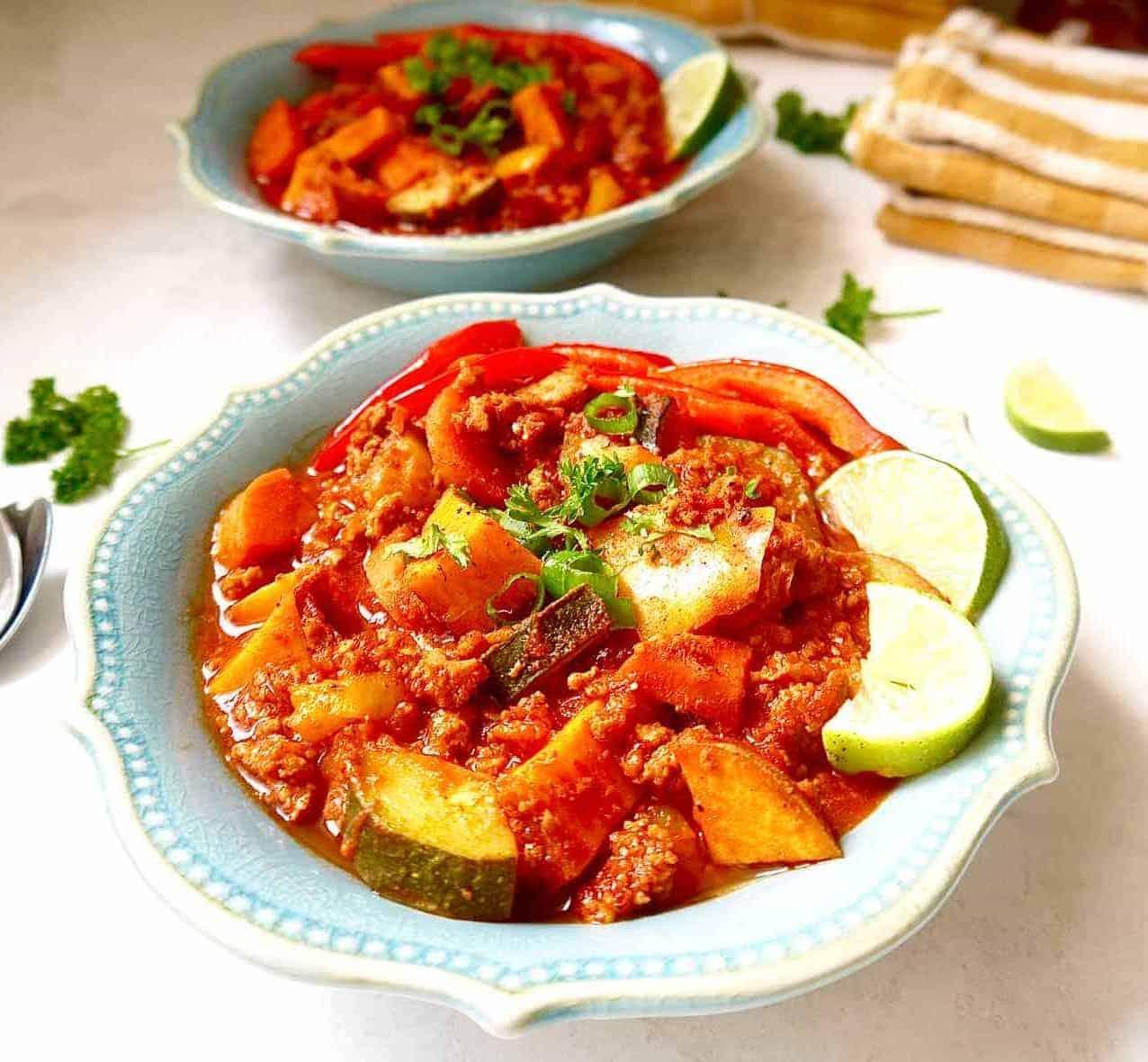 Paleo Ground Turkey Hot Sauce Chili Whole30 Gf Perchance To Cook