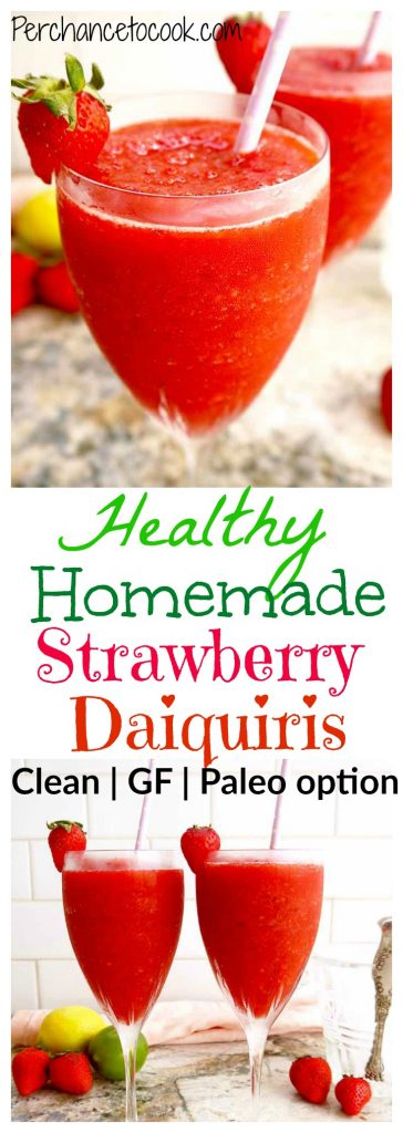 Healthy Homemade Strawberry Daiquiris | Perchance to Cook, www.perchancetocook.com
