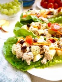 Rotisserie Chicken Salad Wraps with Apples, Raisins and Grapes { Paleo, Whole30}   Perchance to Cook, www.perchancetocook.com