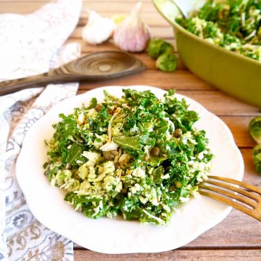 Shredded Brussels Sprouts + Kale Salad with Garlic Caper Dressing | Perchance to Cook, www.perchancetocook.com