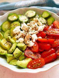 Balsamic Tomato, Cucumber, and Avocado Salad { Paleo option, GF}   Perchance to Cook, www.perchancetocook.com