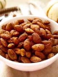 Cinnamon Pumpkin Roasted Almonds {Paleo, GF}   Perchance to Cook, www.perchancetocook.com