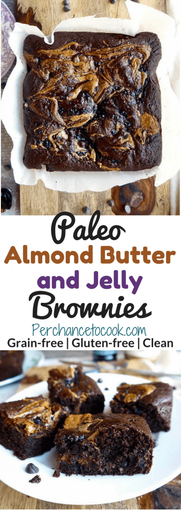 Paleo Almond Butter and Jelly Brownies (Gluten-free, Grain-free)   Perchance to Cook, www.perchancetocook.com