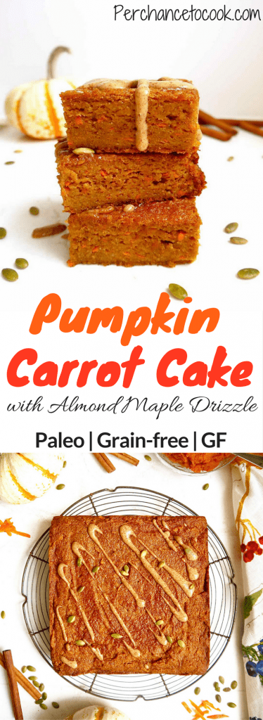 Pumpkin Carrot Cake with Almond Maple Drizzle {Paleo, GF} | Perchance to Cook, www.perchancetocook.com