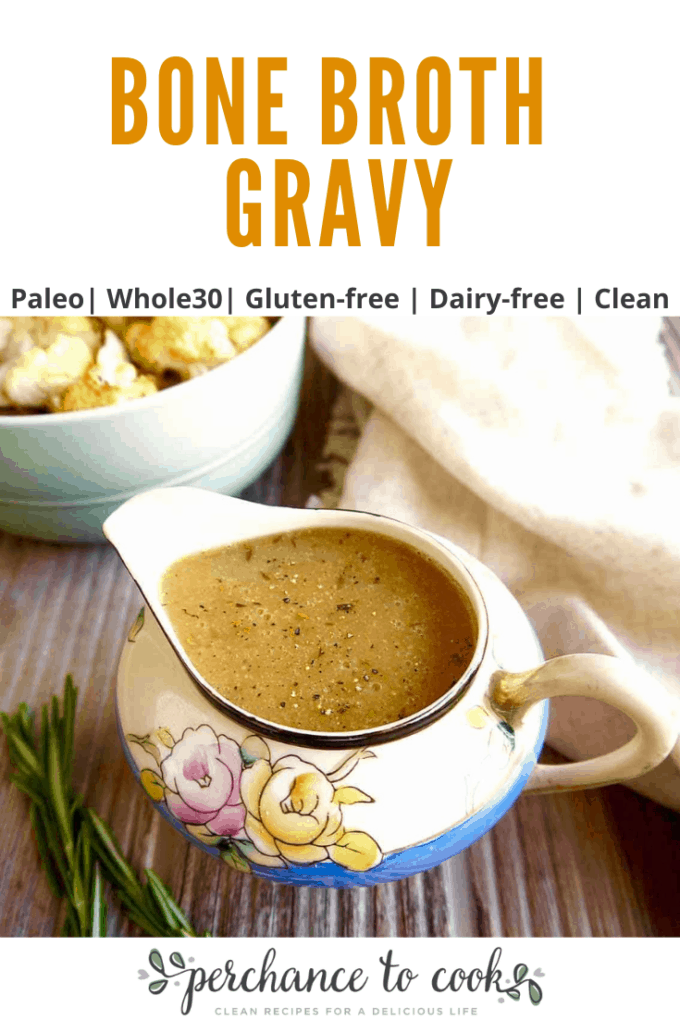 A quick and easy gravy recipe made from bone broth that is dairy-free, gluten-free, Paleo, and Whole30.