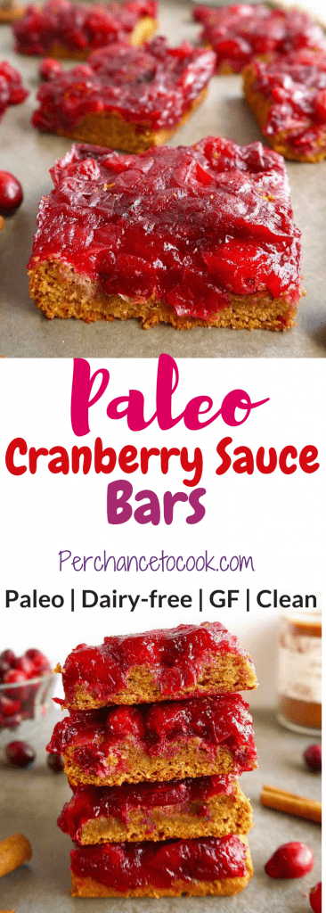 Paleo Cranberry Sauce Bars (GF) | Perchance to Cook, www.perchancetocook.com