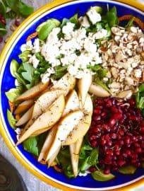 Pear, Pomegranate, and Almond Arugula Salad (Paleo, GF)   Perchance to Cook, www.perchancetocook.com