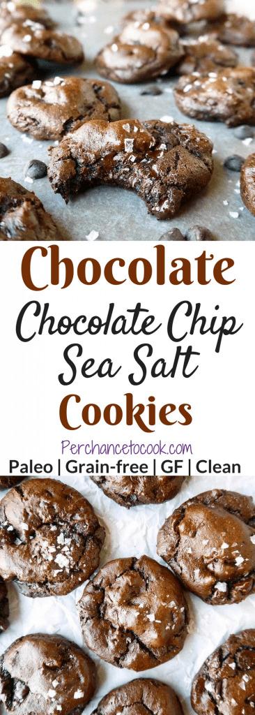 Chocolate Chocolate Chip Sea Salt Cookies (Paleo, GF)   Perchance to Cook, www.perchancetocook.com