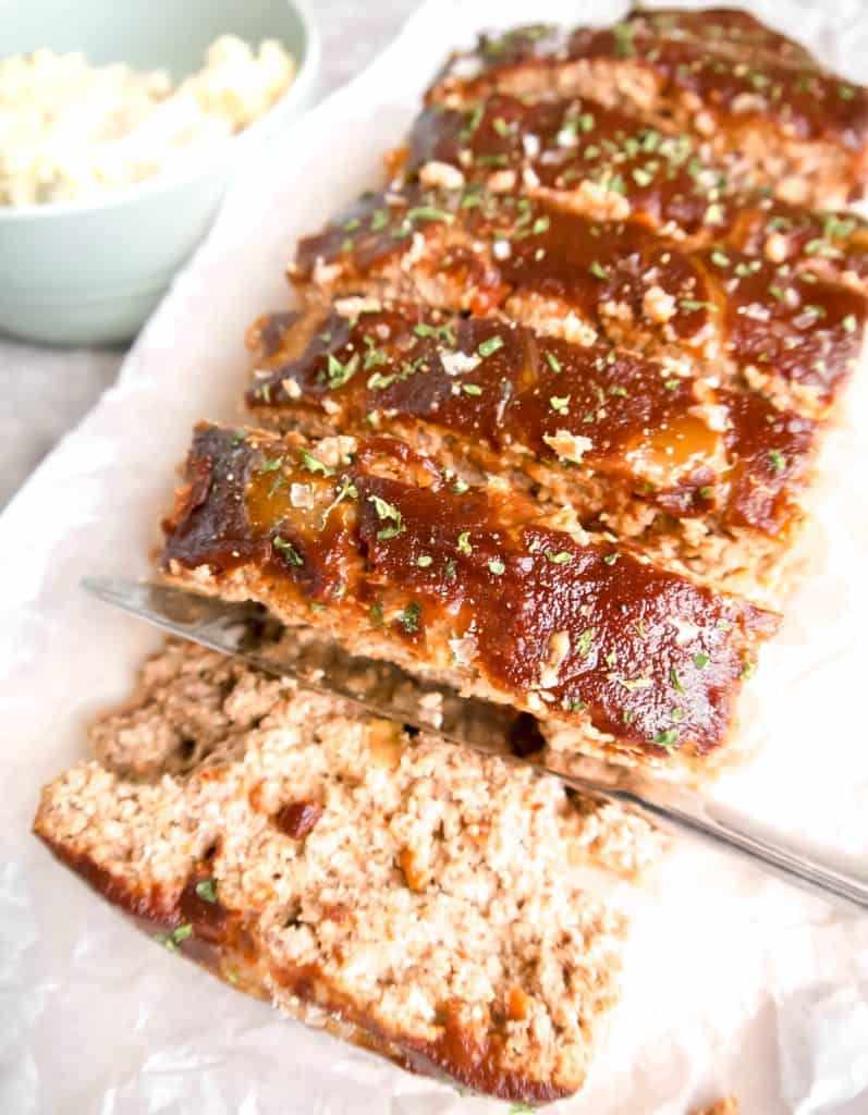 Paleo Meatloaf Topped with Steak Sauce (GF) | Perchance to Cook, www.perchancetocook.com