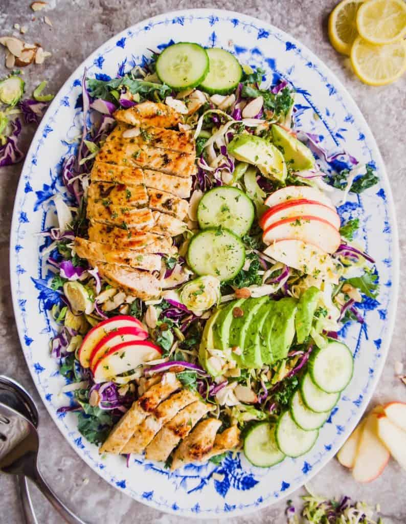 Shredded Cruciferous Salad with Grilled Chicken, Apple, and Avocado (Paleo, GF) | Perchance to Cook, www.perchancetocook.com