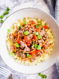 Korean Beef Cauliflower Rice Bowls (Paleo, GF) | Perchance to Cook, www.perchancetocook.com