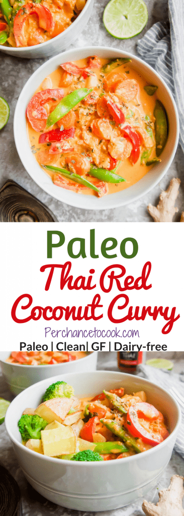Paleo Thai Red Coconut Curry (GF)   Perchance to Cook, www.perchancetocook.com