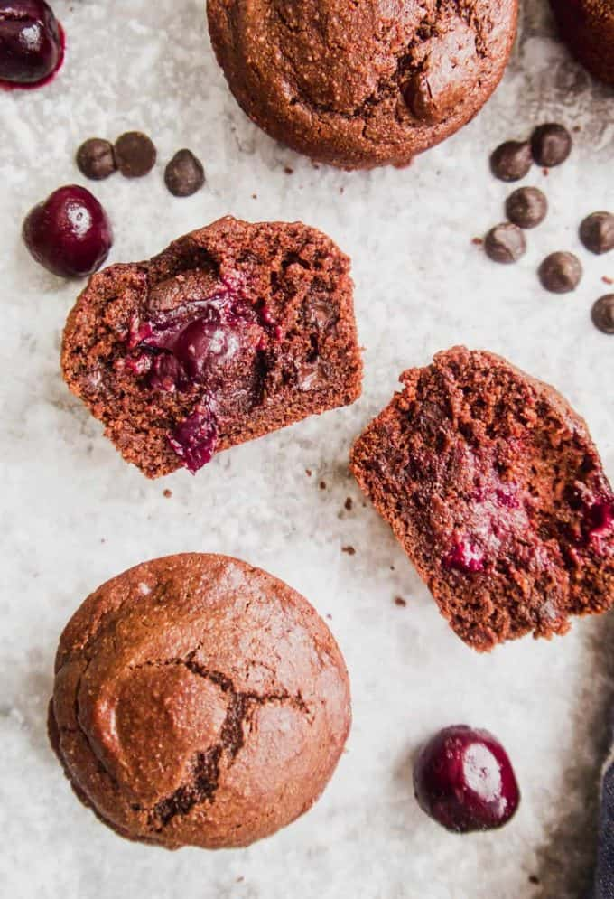 Paleo Chocolate Cherry Muffins (GF) | Perchance to Cook, www.perchancetocook.com