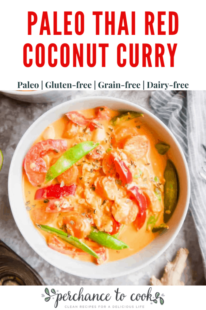 A savory, sweet, spicy, coconut cream filled Thai red curry recipe that is naturally Paleo, Dairy-free, and Gluten-free.