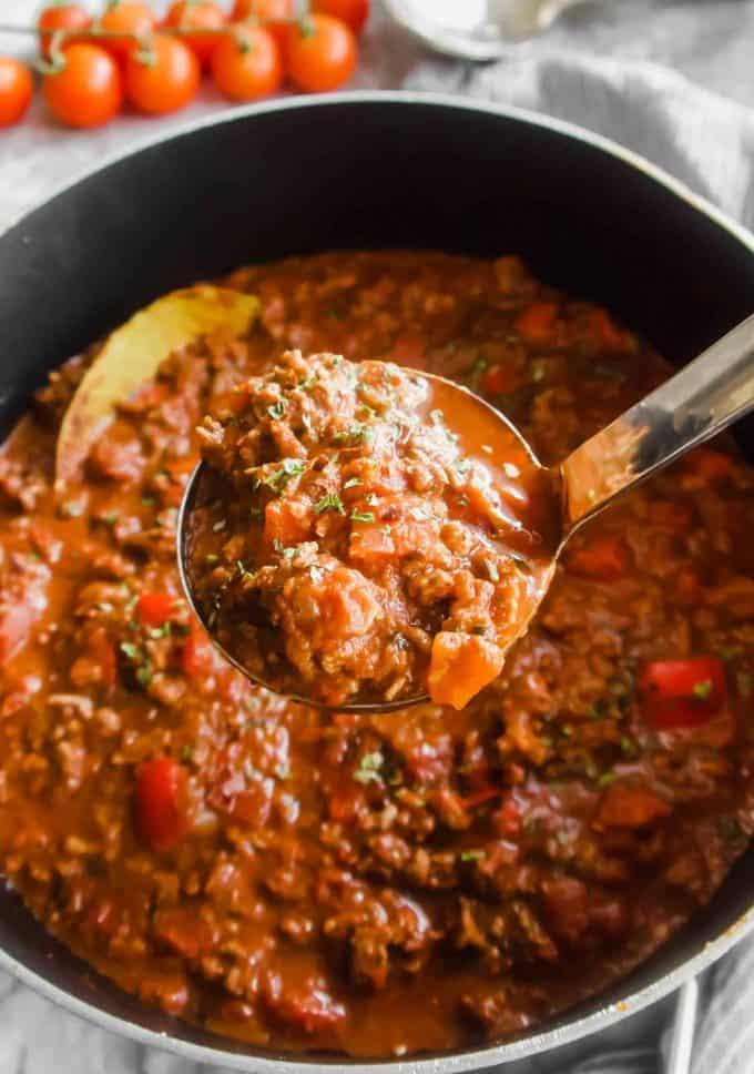 Arrabbiata Meat Sauce (Paleo, Whole30) | Perchance to Cook, www.perchancetocook.com