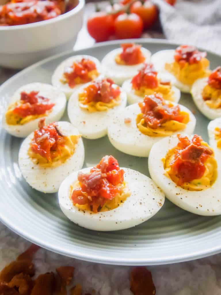 Paleo Deviled Eggs topped with Tomato Bacon Jam (GF) | Perchance to Cook, www.perchancetocook.com