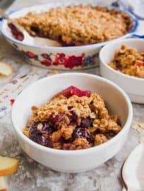 Gluten-Free Apple Cherry Crisp (Vegan) | Perchance to Cook, www.perchancetocook.com