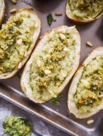 Paleo Whole30 Twice Baked Pesto Potatoes | Perchance to Cook, www.perchancetocook.com