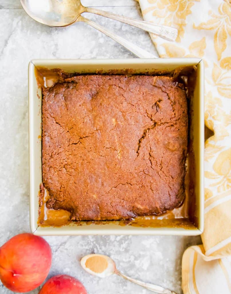 Paleo Vegan Peach Cobbler (GF) | Perchance to Cook, www.perchancetocook.com