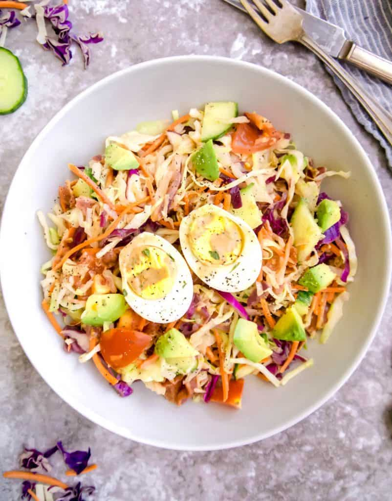 Sautéed Cabbage Cobb Salad (Paleo, Whole30) | Perchance to Cook, www.perchancetocook.com