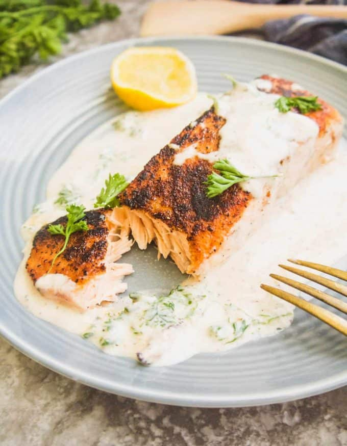 Dairy-free Pan Seared Salmon in Cream Sauce (Paleo, Whole30) | Perchance to Cook, www.perchancetocook.com