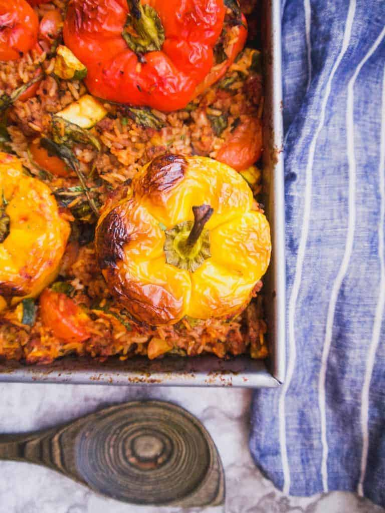 Zucchini Spinach Meat And Rice Stuffed Peppers Gf