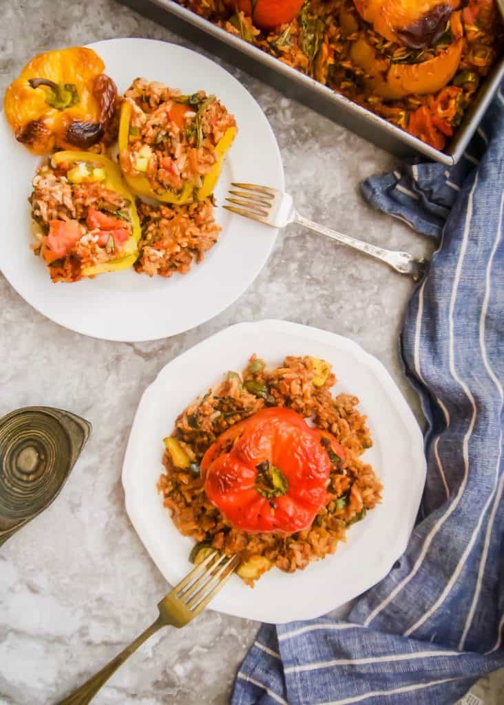 Zucchini, Spinach, Meat and Rice Stuffed Peppers (GF) | Perchance to Cook, www.perchancetocook.com