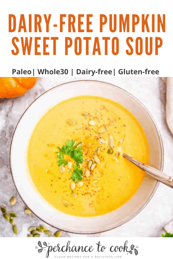 A savory pumpkin soup with added sweetness and texture from sweet potatoes. Made with bone broth and coconut cream, this soup is Paleo, Whole30, GF and Dairy-free.