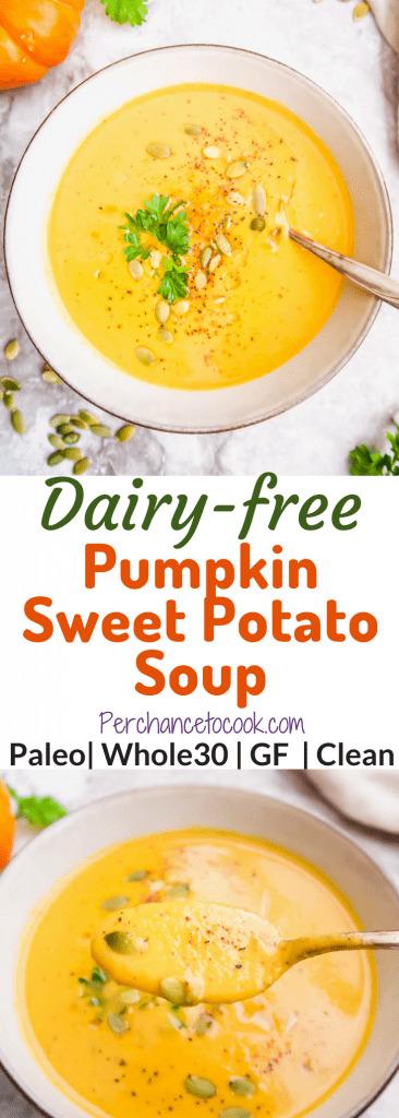 Dairy-Free Pumpkin Sweet Potato Soup (Paleo, Whole30)   Perchance to Cook, www.perchancetocook.com