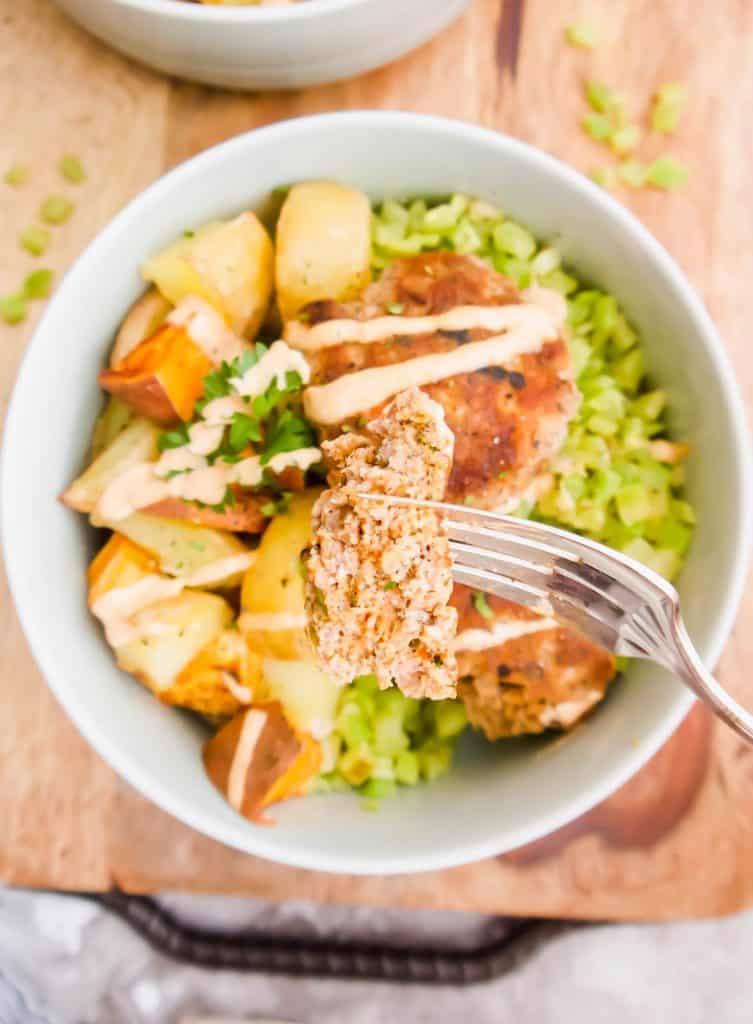 Turkey Patty, Potato and Broccoli Rice Bowls (Paleo, Whole30) | Perchance to Cook, www.perchancetocook.com