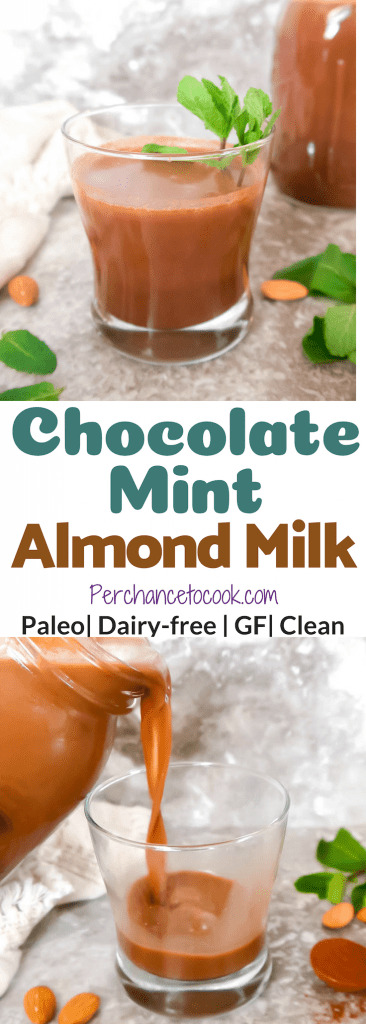 Homemade Chocolate Mint Almond Milk (Paleo, GF) | Perchance to Cook, www.perchancetocook.com