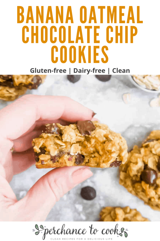 Healthier-for-you Banana Oatmeal Chocolate Chip Cookies.  Delicious banana flavor, with the creamy, chewy texture of oatmeal cookies.