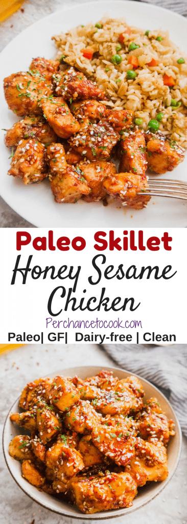 Paleo Skillet Honey Sesame Chicken (GF) | Perchance to Cook, www.perchancetocook.com