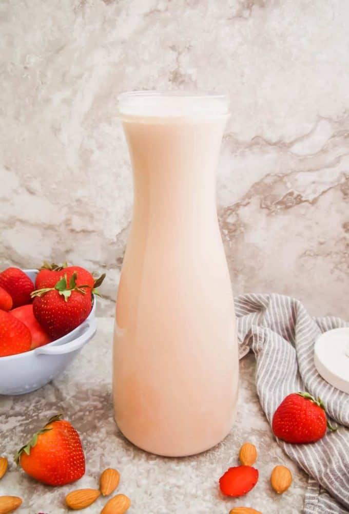 Homemade Strawberry Almond Milk (Paleo, GF)   Perchance to Cook, www.perchancetocook.com