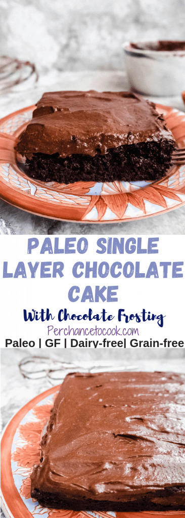 Paleo Single Layer Chocolate Cake with Chocolate Frosting (Dairy-free, GF)   Perchance to Cook, www.perchancetocook.com