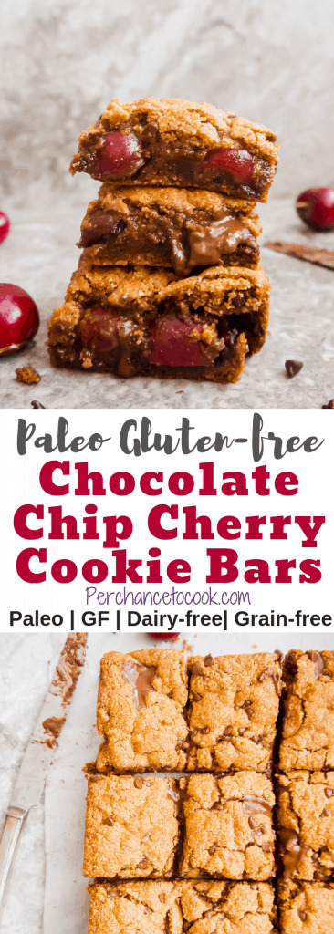 Paleo Gluten-Free Chocolate Chip Cherry Cookie Bars | Perchance to Cook, www.perchancetocook.com