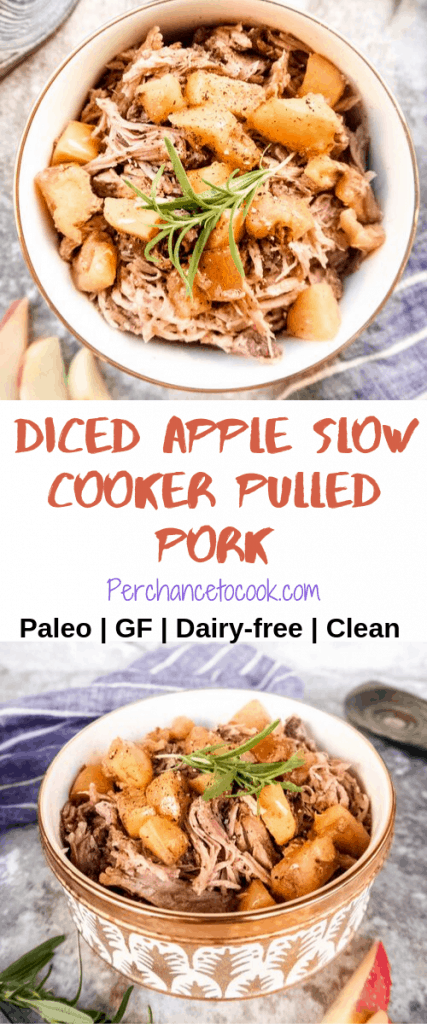 Diced Apple Slow Cooker Pulled Pork (Paleo, GF)   Perchance to Cook, www.perchancetocook.com