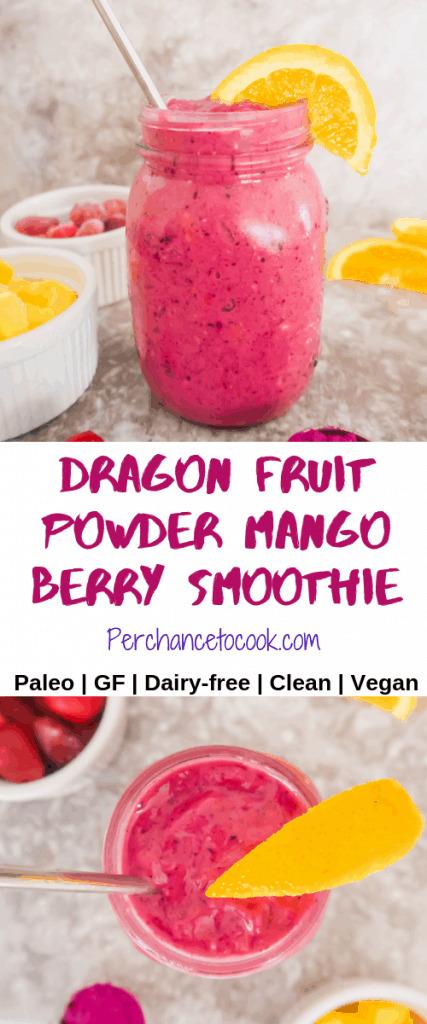 Dragon Fruit Powder Mango Berry Smoothie (Paleo, GF) | Perchance to Cook, www.perchancetocook.com