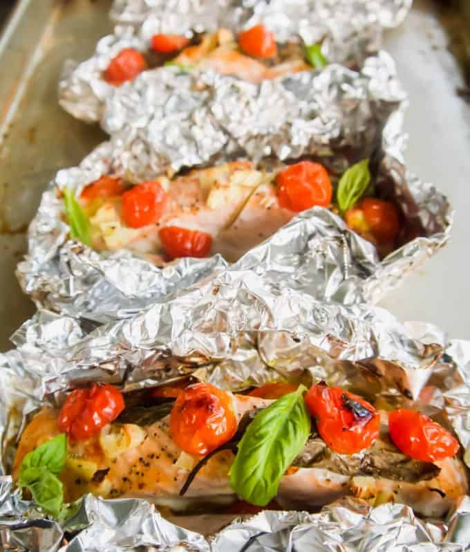 Cherry Tomato, Garlic, and Basil Baked Salmon in Foil   Perchance to Cook, www.perchancetocook.com