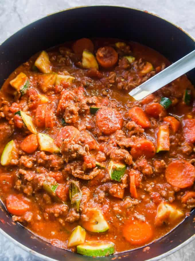 Carrot and Zucchini Meat Sauce (Paleo, Whole30) | Perchance to Cook, www.perchancetocook.com