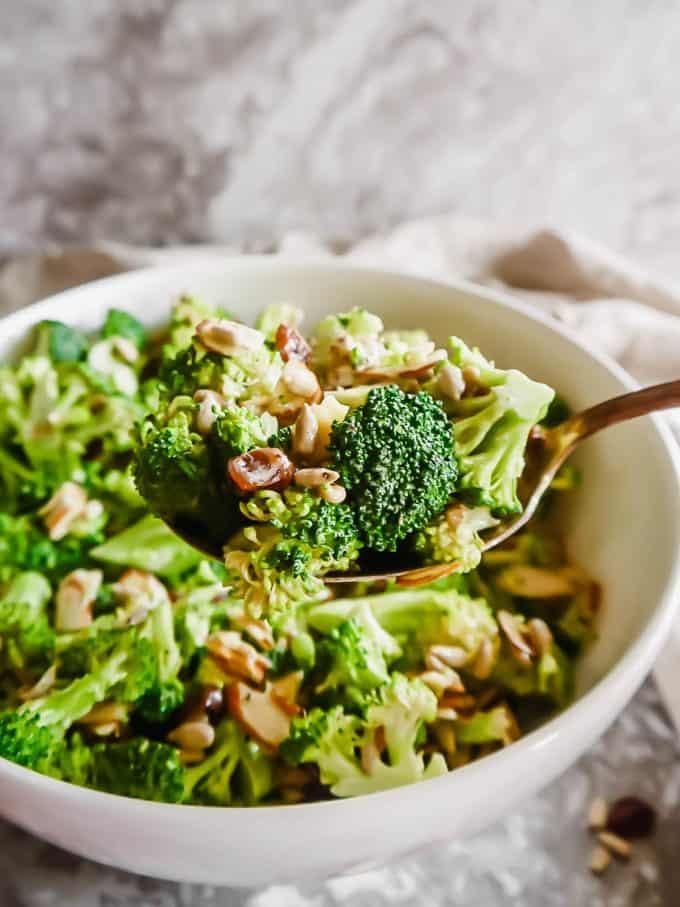 Lightened Up Broccoli Salad (Dairy-free, Paleo) | Perchance to COOK, www.perchancetocook.com