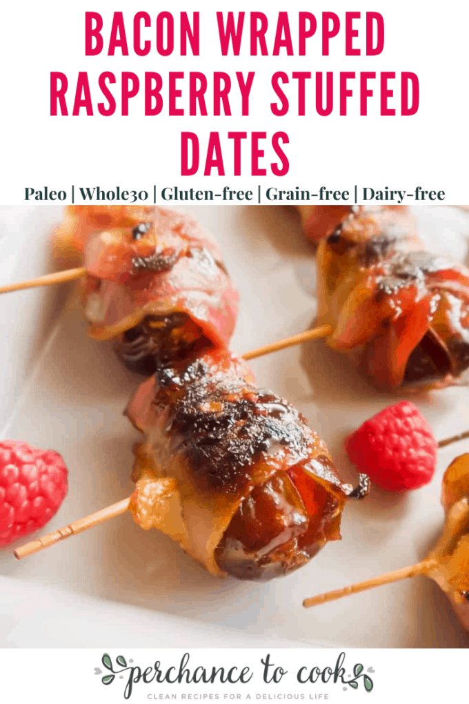 An easy, three-ingredient, healthy appetizer recipe. Dates stuffed with raspberries and wrapped in bacon. They taste like raspberry jam surrounded by bacon!