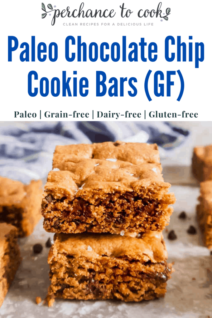 Paleo Chocolate Chip Cookie Bars (GF) | Perchance to Cook, www.perchancetocook.com