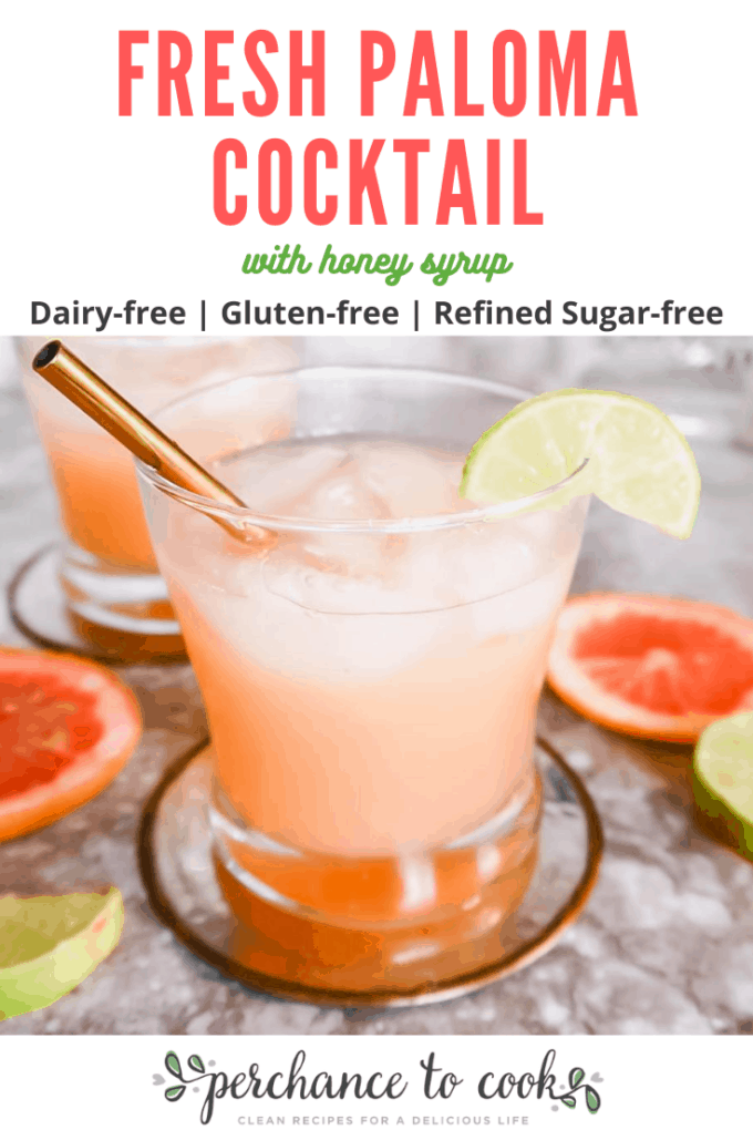 A delicious refreshing cocktail made from fresh grapefruit juice, lime juice, tequila, sparkling water and a homemade honey syrup.