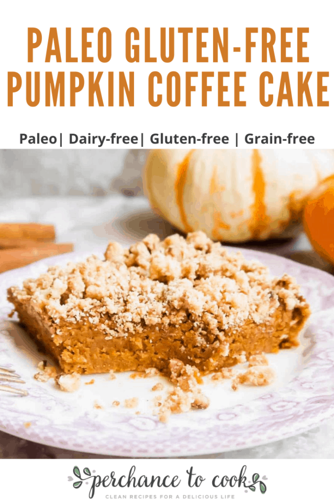 An easy delicious Paleo and Gluten-free moist Fall coffee cake filled with pumpkin, cinnamon, cloves, ginger, and nutmeg. It's topped in a delightful cinnamon maple streusel.