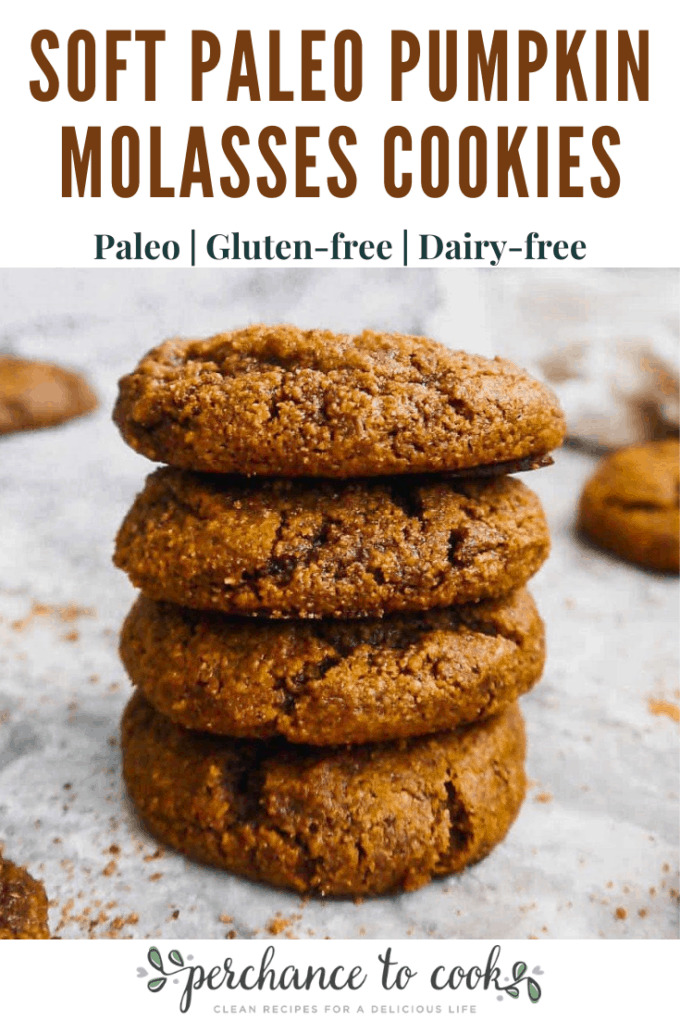 Soft and chewy healthy cookies full of pumpkin and molasses flavors! Naturally Paleo, Gluten-free and Dairy-free.