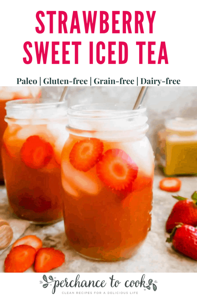 An easy, refreshing and delicious iced tea recipe made from only water, tea, honey, and strawberries.