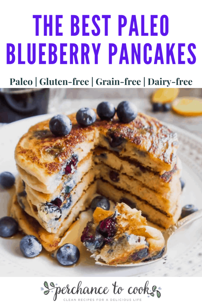 Easy grain-free gluten-free blueberry pancakes made with almond flour, tapioca flour, and coconut flour. They have the perfect texture and taste.