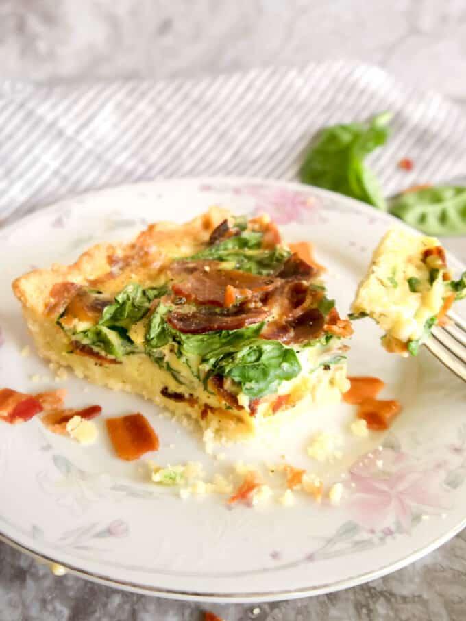 Paleo Gluten-free Spinach Bacon Quiche   Perchance to Cook, www.perchancetocook.com