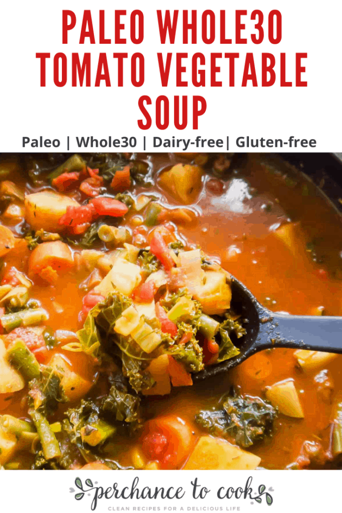 A healthy easy soup recipe that is part tomato based, part bone broth based, and filled with carrots, potatoes, green beans, zucchini and chopped kale. It is the ultimate vegetable soup. It is the ultimate vegetable soup!